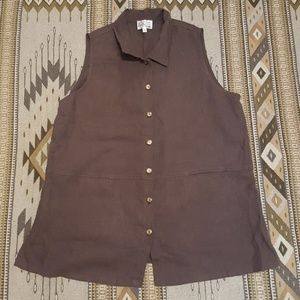 Linen 1X plus size brown button up tank top